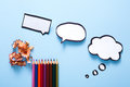 Blank speech bubble and color pencil, creativity Royalty Free Stock Photo