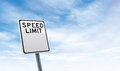 Blank speed limit road sign with sky copy space Royalty Free Stock Photo