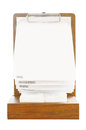 Blank standing menu with white paper on wooden stand isolated background Stock Images