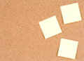 Blank stick notes on bulletin board texture or background cork used for Royalty Free Stock Photo