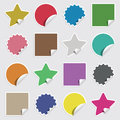 Blank stickers collection of four shapes in colors with transparencies Royalty Free Stock Photos