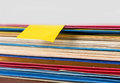 Blank note on colored folders Royalty Free Stock Photo
