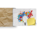 Blank sticky note with splash colors lightbulb crumpled envelope paper background as concept Royalty Free Stock Image