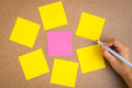 Blank sticky notes on brown wood with hand hold pen Royalty Free Stock Photo