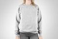 Blank sweatshirt mock up isolated. Female wear plain hoodie mockup.