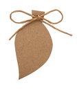 Blank tag tied with brown string on white Royalty Free Stock Photo