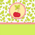 Blank template for cherry greetings card Stock Images