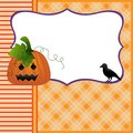 Blank template for Halloween pumpkin crow postcard Royalty Free Stock Images