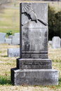 Blank tombstone with hand pointed down granite Royalty Free Stock Photos