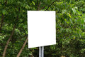 Blank traffic sign board white and green trees leaves in forest Royalty Free Stock Images