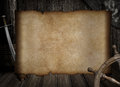Blank treasure map over other pirates accessories Royalty Free Stock Photo