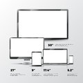 Blank TV screen, lcd monitor, notebook, tablet computer, smartphone mockups isolated on white background Royalty Free Stock Photo