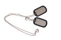 Blank us army dog tags on white Royalty Free Stock Photo
