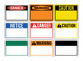 Blank warning signs. Set of warning signs about the dangers. Dan Royalty Free Stock Photo