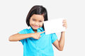 Blank white card young asian girl pointing to a empty Stock Image