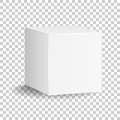 Blank white carton 3d box icon. Box package mockup vector illust