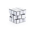 Blank white cubic twist puzzle copy space your information isolated white Royalty Free Stock Photo