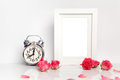 Blank white frame, pink roses and alarm clock. Mock up. Royalty Free Stock Photo