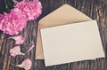 Blank white greeting card with brown envelope Royalty Free Stock Photo