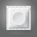 Blank white plastic condom pack, isolated on grey
