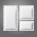 Blank white plastic sachets for coffee, sugar,
