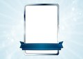 Blank white rectangle with silver frame and blue Royalty Free Stock Photo