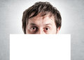 Blank white space over male head selective focus male head Royalty Free Stock Image