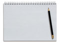 Blank white spiral notebook and pencil Royalty Free Stock Photo