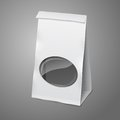 Blank white vector realistic paper packaging bag
