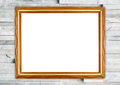 Blank wood frame on modern marble wall Royalty Free Stock Photo