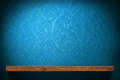 Blank Wood shelf with blue retro wallpaper Royalty Free Stock Photo