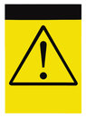 Blank yellow black triangle general caution danger warning attention sign, isolated, large detailed vertical signage copy space Royalty Free Stock Photo