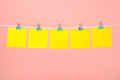 Blank yellow paper notes on the string Royalty Free Stock Photo