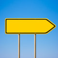Blank yellow road sign, direction pointer Royalty Free Stock Images