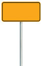 Blank Yellow Road Sign Isolated, Large Warning Copy Space, Black Frame Roadside Signpost Signboard Pole Post Empty Traffic Signage Royalty Free Stock Photo