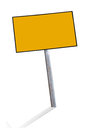 Blank yellow steel signs plate warning with isolated background Stock Photos
