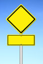 Blank yellow traffic sign with blue sky Stock Images