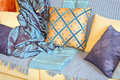 Blanket and pillows Stock Photos