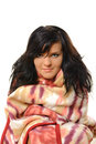 Blanket young woman wrapped in colorful Royalty Free Stock Photography