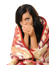 Blanket young woman wrapped in colorful Royalty Free Stock Image