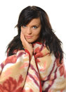 Blanket young woman wrapped in colorful Royalty Free Stock Photo