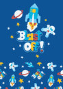 Blast off vector illustration of a space scene for children Royalty Free Stock Image