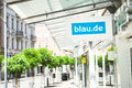Blau de shop sign infront of a of the german telecommunications provider Stock Photography