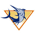 Blauer marlin fish jumping retro Lizenzfreie Stockbilder