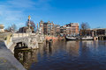 Blauwbrug Bridge in Amsterdam Royalty Free Stock Photo