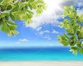 Blauwe hemel met wolk en overzees Royalty-vrije Stock Foto