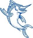 Blauwe marlijn die hello hallo golft Royalty-vrije Stock Afbeeldingen