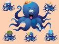 Blauwe vrolijke beeldverhaaloctopus met diverse toebehoren hoed vector illustratie een reeks beelden Stock Fotografie