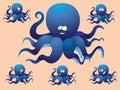 Blauwe vrolijke beeldverhaaloctopus met een verschillend gezicht vector illustratie een reeks beelden Royalty-vrije Stock Afbeeldingen