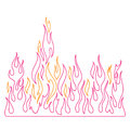 Blaze, burning fire and flames vector illustration